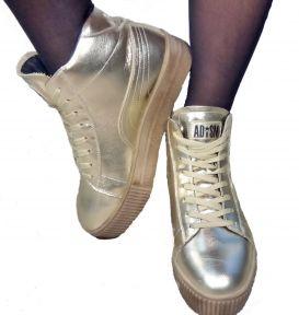 Ботинки женские Ditas Золотой верх, бежевая подошва, подкладка - искусственный мех