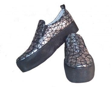 Слипоны женские Ditas Черная подошва, 3D серебряный верх