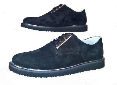 Туфли женские Ditas Черный верх, черная подошва с серебристым декором, подкладка - натуральная кожа