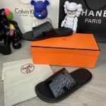 Hermes Izmir Sandals Leather Ostrich Black