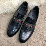 Лоферы Gucci Jordaan Leather Loafer with Web Croco Black